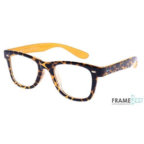 แว่นตา Eyelucy ( รุ่น DS042 - LEO ) เต็มกรอบสีเหลืองลาย ขาสีเหลืองลาย  น้ำหนักเบา ยืดหยุ่นสูง