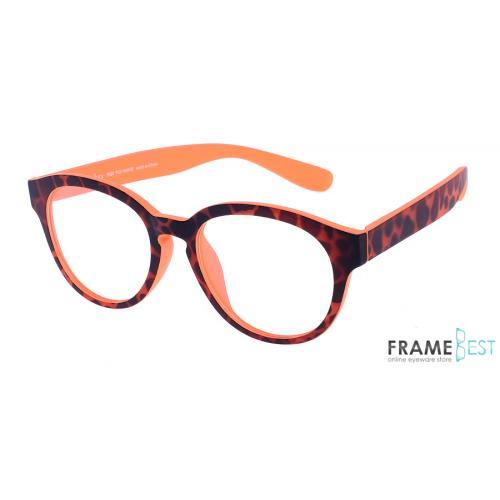 แว่นตา Eyelucy รุ่น DS513-B ( วัสดุ TR90  ) เต็มกรอบสีน้ำตาลเล่นลาย ขาสีน้ำตาลลายกะ ขาด้านในสีส้ม น้ำหนักเบามาก ยืดหยุ่นสูง
